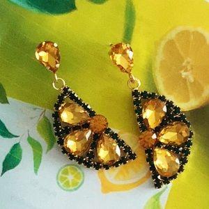 Rhinestone Lemon Earrings